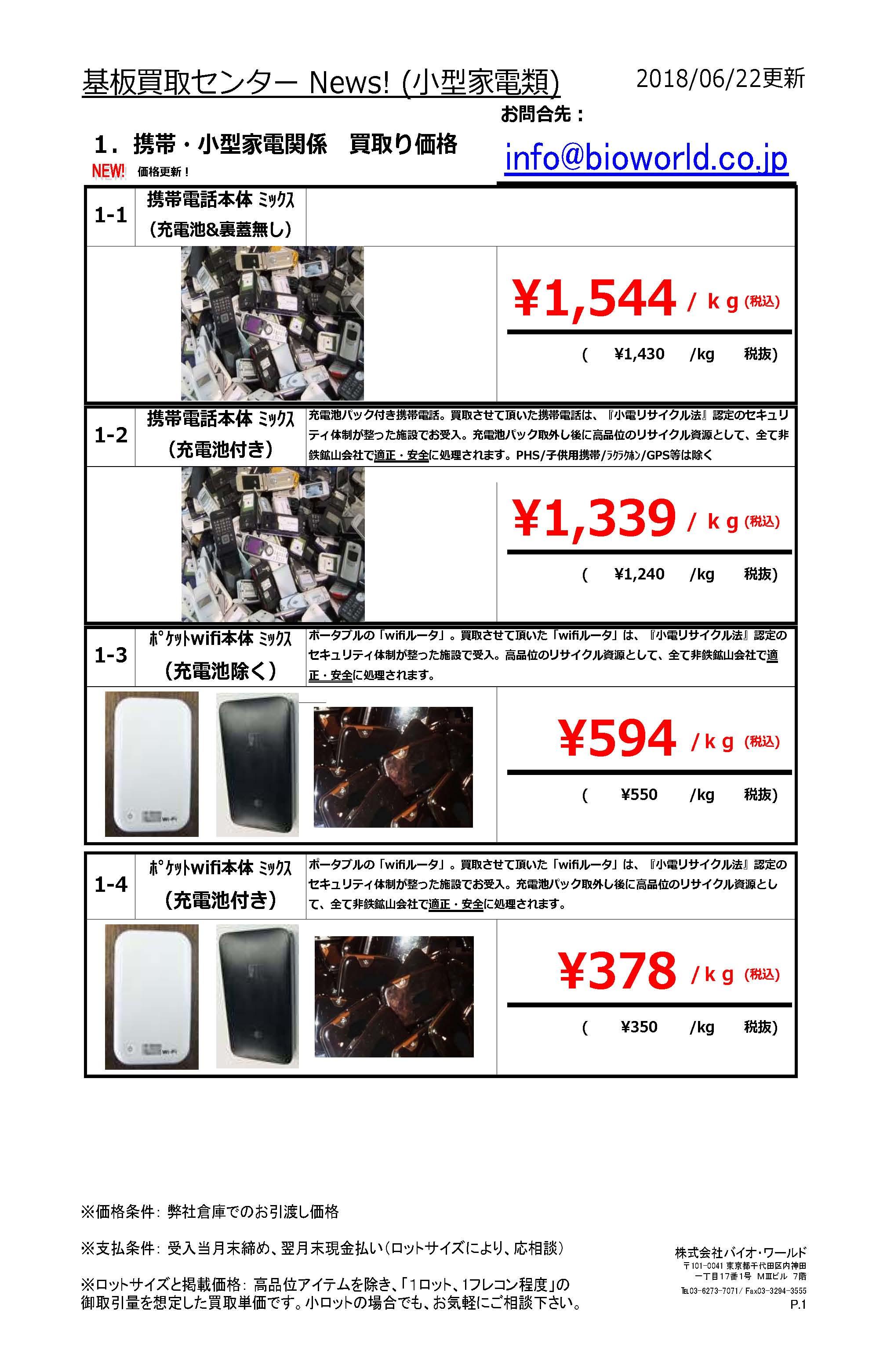 最新小型家電買取価格表